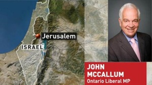 John McCallum and a map of Israel