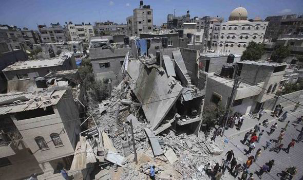 Collapsed building in Gaza