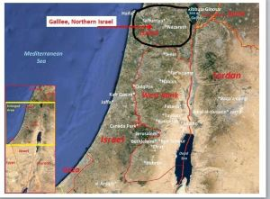 map showing gallilee in northern israel