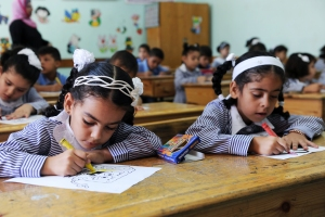 Refugee children headed for UNRWA schools on their first day of the school year in Gaza Strip despite the harsh economic conditions people in Gaza Strip are suffering from.